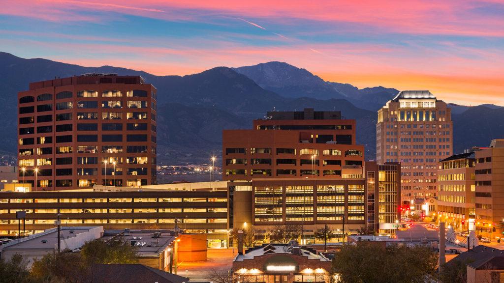 Sun setting on Colorado Springs, CO