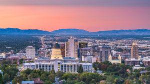 Sun setting on Salt Lake City, UT